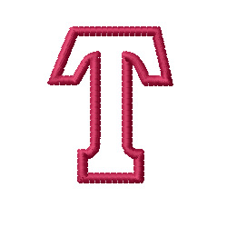 Kids Block Letter T Embroidery Design