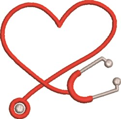 Heart & Stethoscope embroidery design