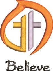 Believe Cross embroidery design
