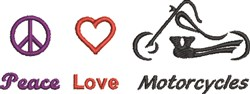 Peace Love Motorcycles embroidery design