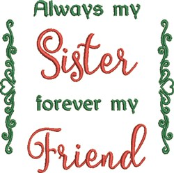 Sister Friend embroidery design