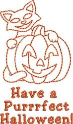 Purrrfect Halloween embroidery design