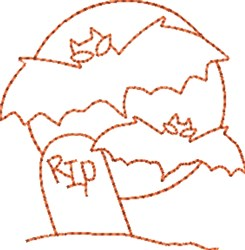 Bats Tombstone embroidery design