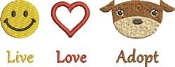 Live Love Adopt embroidery design