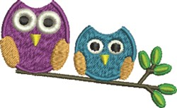 Owl Pair embroidery design