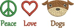 Peace Love Dogs A embroidery design