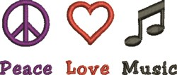 Peace Love Music embroidery design