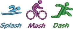 Triathlon Splash Mash Dash embroidery design