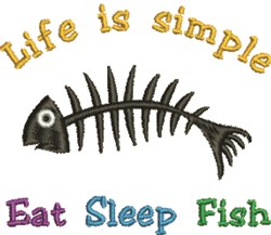 Eat Sleep Fish embroidery design