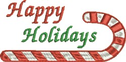 Happy Holidays Candy Cane embroidery design