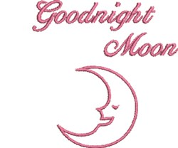 Pink Goodnight Moon embroidery design