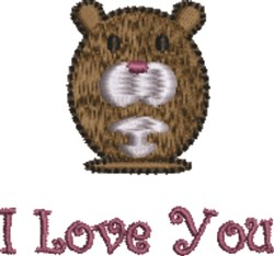 I Love You Mouse embroidery design