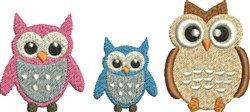 Owl Family embroidery design