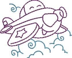 Cartoon Airplane embroidery design