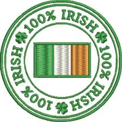 100% Irish Flag embroidery design