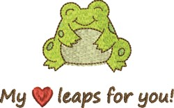 Happy Heart Frog embroidery design
