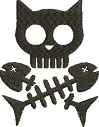 Hungry Kitty Skull embroidery design