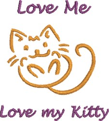 Love My Kitty embroidery design