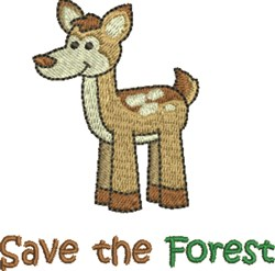 Save The Forest Deer embroidery design