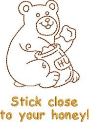 Stick Close Honey Bear embroidery design