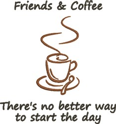Friends & Coffee embroidery design