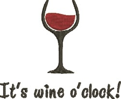 Wine Oclock embroidery design