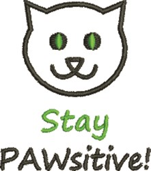 Stay Pawsitive embroidery design