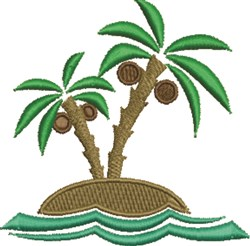 Palm Tree Island embroidery design