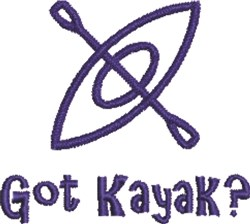 Got Kayak embroidery design