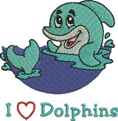 Love Dolphins embroidery design