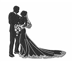 Bride & Groom Silhouette embroidery design