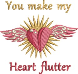 My Heart Flutter embroidery design
