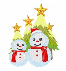 Snowmen & Christmas Trees embroidery design