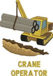 Crane Operator embroidery design