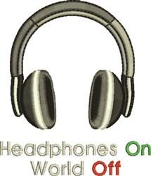 Headphones On embroidery design