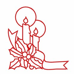 Christmas Candles Outline embroidery design