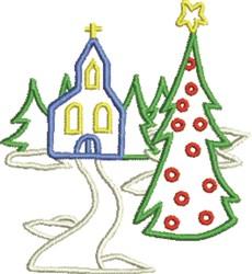 Church Christmas Scene embroidery design