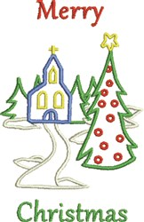 Merry Christmas Church embroidery design