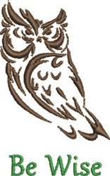 Night Owl Be Wise embroidery design