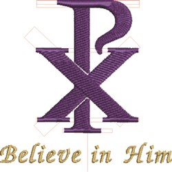 Believe In Him embroidery design