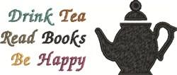 Be Happy Tea embroidery design