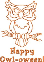 Happy Owl-oween embroidery design