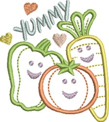 Happy Vegetables embroidery design