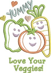 Love Your Veggies embroidery design