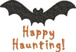Happy Haunting Bat embroidery design