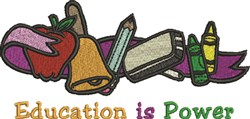 Education is Power embroidery design
