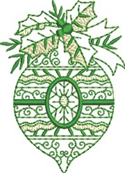 Christmas Ornament Holly embroidery design