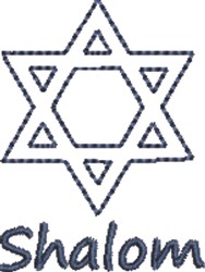 Star of David Shalom embroidery design