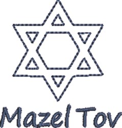 Star of David Mazel Tov embroidery design