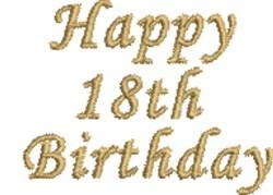 Happy 18th Birthday embroidery design